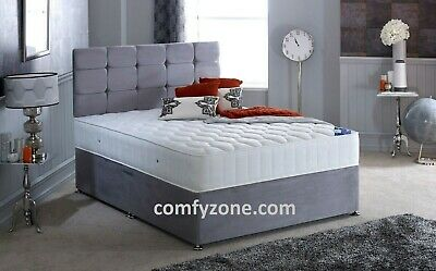 GREY SUEDE DIVAN BED BASE, Single 3ft, Double 4ft, King Size 5ft, Super King 6ft