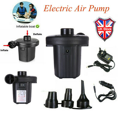 2-in-1 Electric Air Pump Inflator Pool Camping Bed Mattress Boat 12V 240V Car UK