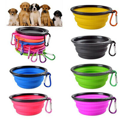 Pet Cat dog Bowl Folding Collapsible Silicone Puppy Doggy Feeder Water Food O8H2