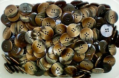 15mm 24L Dark Brown Chocolate Leather Effect 4 Hole Shirt Craft Buttons K150