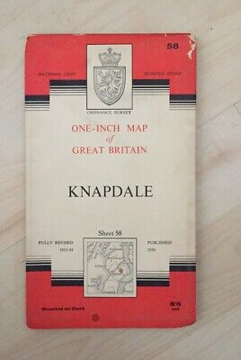1956 Vintage ORDNANCE SURVEY One-Inch Seventh Series Map KNAPDALE, No 58, Cloth