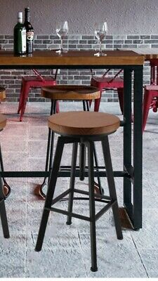 2 x Vintage Industrial Bar Stools Chair Retro Kitchen Counter Wooden Seat Pub