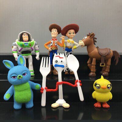 7x TOY STORY 4 WOODY JESSIE BUZZ BUNNY DUCKY FORKY ACTION FIGURE KID MODEL TOY