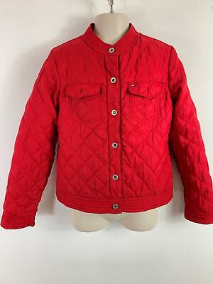 Girls Tommy Hilfiger Red Quilted Casual Button Up Jacket  Coat Kids  M Medium