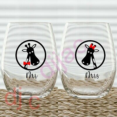 MR /& MRS OWLS WEDDING VINYL DECALS STICKERS for WINE GLASS