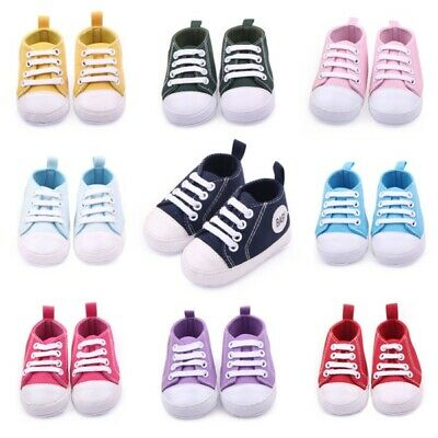 0-12Months Cute Toddler Kids Canvas Sneakers Baby Boy Girl Soft Sole Crib Shoes