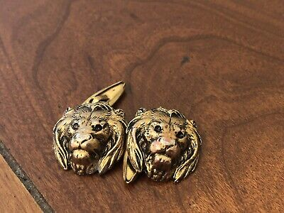 Vintage Antique Lion Head Cufflinks Chain Heavy Beautiful