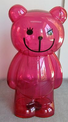 "Large Pink 13"" Teddy Bear Standing Piggy Bank Container Bank Money Saver Lucite"