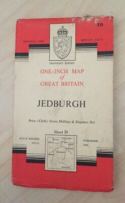 1956 Vintage ORDNANCE SURVEY One-Inch Seventh Series Map JEDBURGH, No. 70 CLOTH