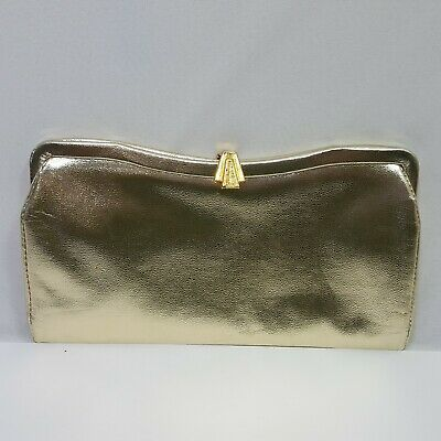 Admiral 1950s Vintage Gold Clutch Hand Evening Bag 9.5 Inches Long