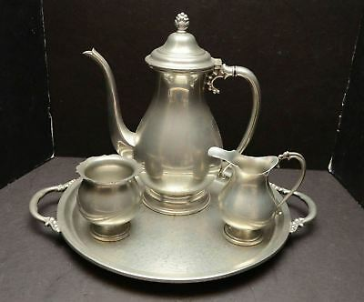 Shirley Pewter Willamsburg Virginia 4 Pc Coffee / Tea Service Set Hand Made VTG