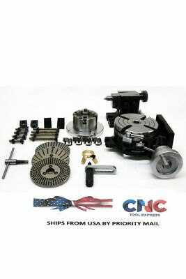 """Rotary Table Kit 5"""" With Chuck , Fixture Plate, Tailstock And Dividing Plates"""
