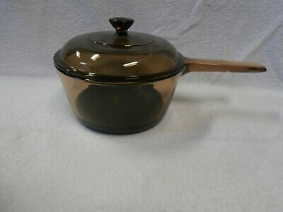 Vision Corning Ware France Teflon 1.5 litre Pot and Lid Amber Color