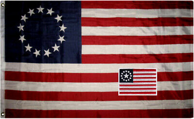 "Betsy Ross 3x5 ft flag and 2.5""x3.5"" inches Hook and Loop back embroidered patch"