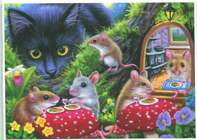 Outstanding Aceo Black Cat Tree House Mice Mouse Dinner Red Mushrooms Garden Iris Art Print Download Free Architecture Designs Scobabritishbridgeorg