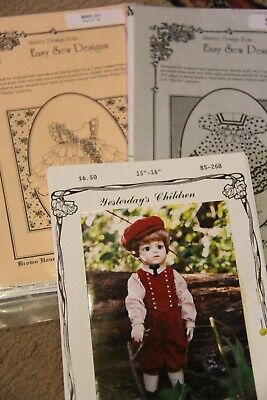 Lot 3 Patterns Vintage Doll Clothes-Shirley Temple, Old fashioned boy doll
