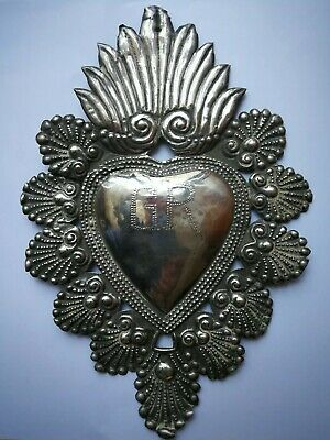 "Antique Big 10"" Vintage Christian Sterling Silver Milagro Heart Ex Voto Exvoto"