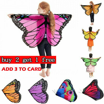 Kids Girl Fairy Butterfly Wings Costume Children Princess Shawl Cape Cloak WC