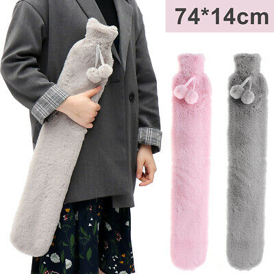 Warmies Extra Long 74cm Flannel HOT WATER BOTTLE Pain Relief Removable Cover PVC
