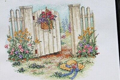 Completed Cross Stitch White Picket Fence Flowers Garden Hat, Framed Handmade