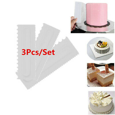 3x DIY Cream Smooth Cake Spatula Baking Pastry Tools Dough Scraper Butter Knife
