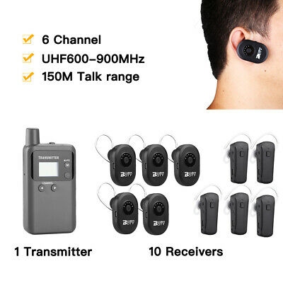 Wireless Tourism System Transmitter Mic + 10* Receiver For Tour Teach Meeting