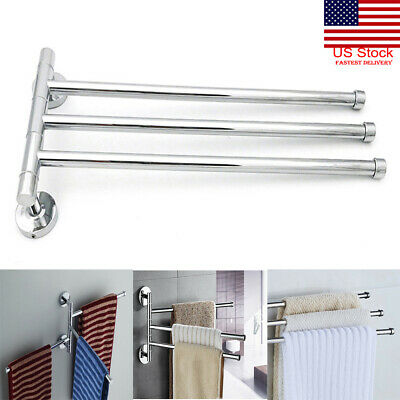 US Stainless Steel Towel Bar Rotating Towel Rack Bathroom Kitchen Towel Storage