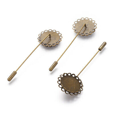 10pcs Brass Cravate Brooch Pins Findings w/ Flower Bezel Setting Cups 20mm Tray