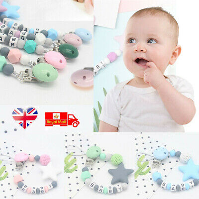 Baby Dummy Clip Holder Pacifier Clips Soother Chains Silicone Bead Teething UK