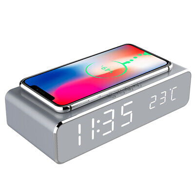 USB Digital LED Desk Alarm Clock Thermometer Wireless Charger Qi Charging 007CA