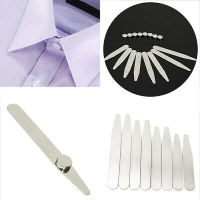 Stainless Steel 8 Polished Metal Collar Stays + 8 Magnets for Men Dress Shirts