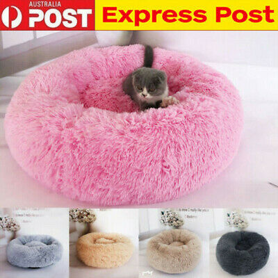 Pet Dog Cat Calming Bed Warm Soft Plush Round Cute Nest Comfortable Sleeping AU