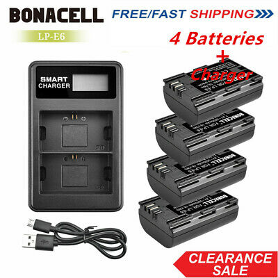 4× LP-E6 2600mAh Battery + Dual Charger for Canon EOS 5D Mark II III 7D 60D 6D