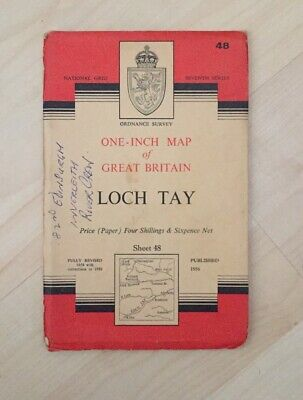 1956 Vintage OS Ordnance Survey One-inch Seventh Series Map No. 48, LOCH TAY