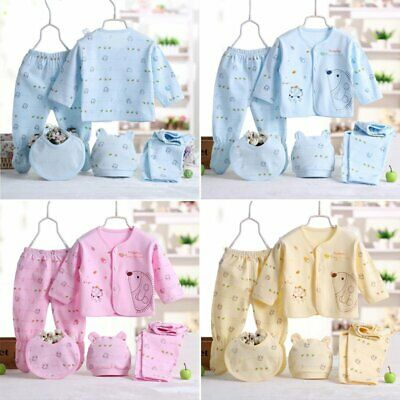 5Pcs/Set Newborn Baby Pants+T-Shirt Infant Unisex Girl Boy Outfit Cotton Clothes
