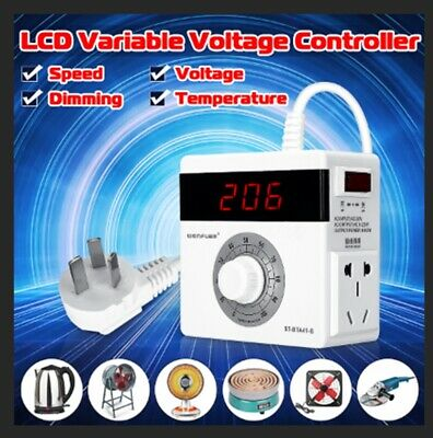 AC 220V Variable Voltage Controller for Light Fan Speed Motor Dimmer 4000W AU