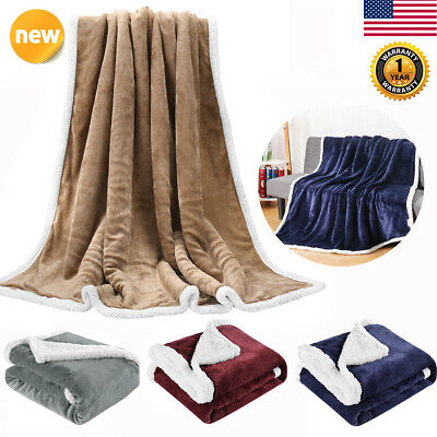 Reversible Soft Cozy Flannel/Sherpa Throw Blanket Fleece for Sofa Couch Bed US