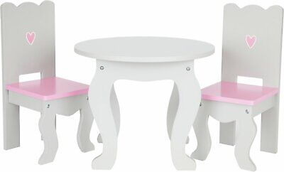 Chad Valley Designafriend Wooden Table and Chairs White/Pink - 3+ Years