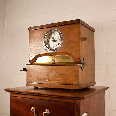 Vintage Oak Cased Industrial Mechanical Clocking-In Clock