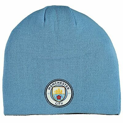 Puma Official Unisex Manchester City Reversible Football Beanie Hat Blue & Black
