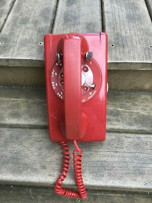 Vtg Red Bell System Western Electric Rotary Wall Phone Tested and Works!