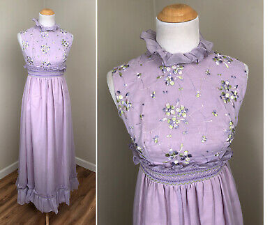 Vintage Light Purple Lilac Lavender Maxi Formal Dress Bridesmaid Embroidery M
