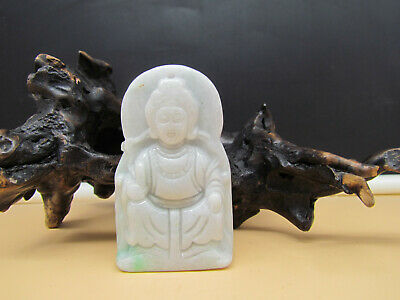 Chinese Hand-carved aristocratic wearing Jadeite jade pendant Guanyin 观音
