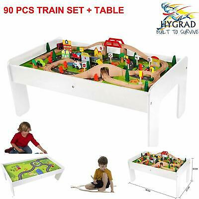Kids Wooden Train And Track Toy Set Playset + Accessories multifunctional Table