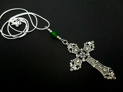 A Lovely Tibetan Silver  Large Cross/Crucifix Green Jade Bead Necklace.