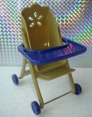 Barbie Shelly Kelly Doll Accessories - Gold & Blue Colour Buggy Pram Pushchair