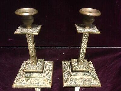 Antique Pair of Ornate Victorian Gothic Brass Gilt Bronze Candlesticks