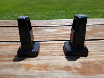 Vintage Black Porcelain Towel Bar Holders Or Toilet Paper Dispenser Holder