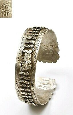 1930' Chinese Sterling Silver Bracelet Bangle Figurine Fu Foo Dog Lion Marked