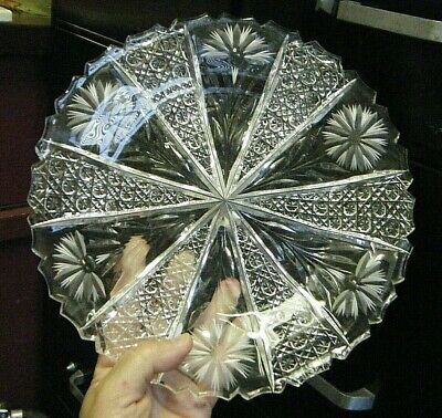 "Beautiful Vtg American Brilliant Abp Cut Glass Crystal Carnation 10"" Large Plate"